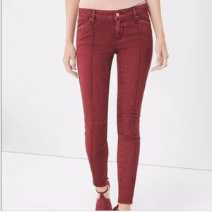 WHBM The Skimmer Jeans Washed Brick Leather Trim